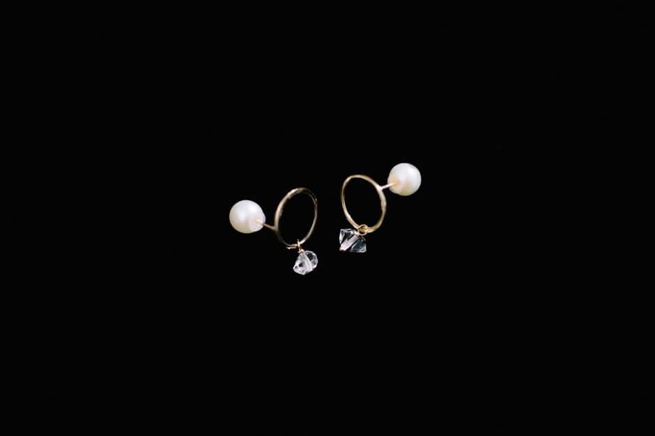 accessories mau K10+ハーキマーダイヤ+淡水パール サークルピアス