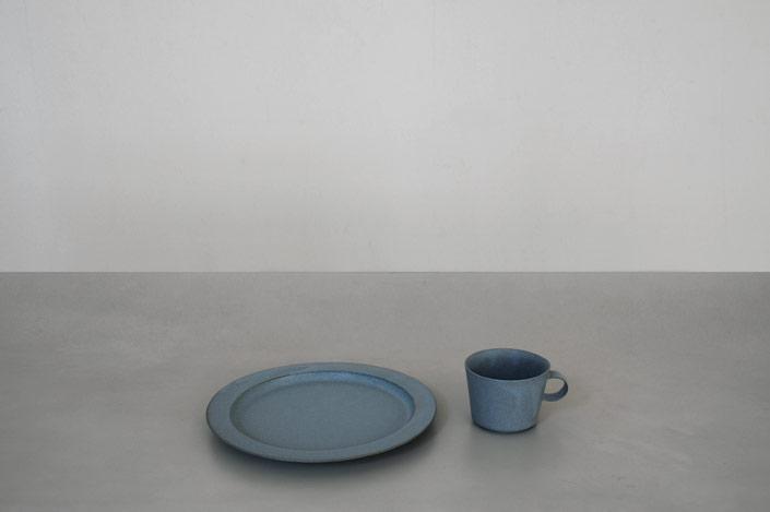 """yumiko iihoshi porcelain """"unjour"""" aprés midi プレート smoke blue"""