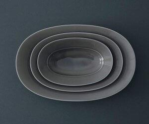 yumiko iihoshi porcelain Oval plate mist beige