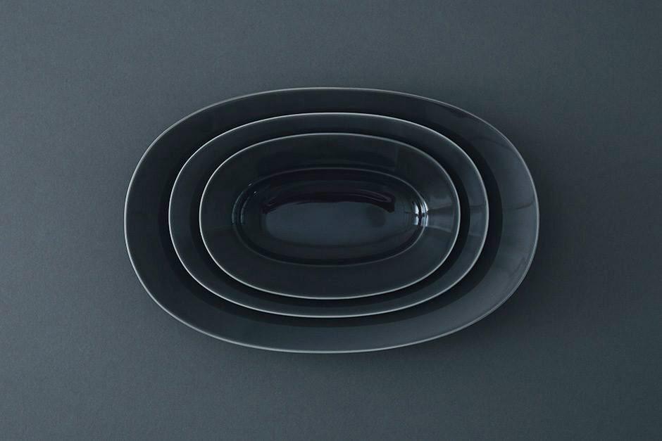yumiko iihoshi porcelain Oval plate moon gray