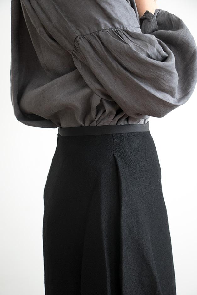 koton ウールサージ スカート ブラック