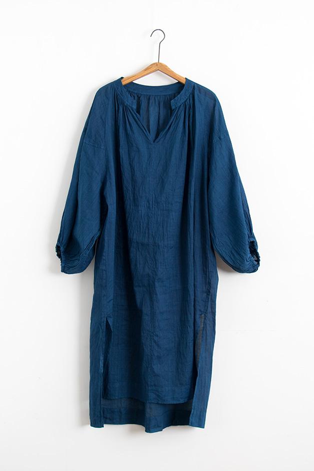 koton ラミーコットン藍染チュニック 藍