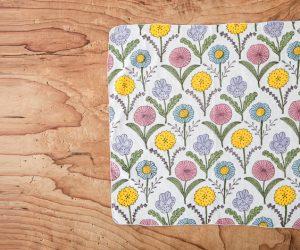 鹿児島睦 ウッドブロックプリントハンカチーフ 花4種類 カラー