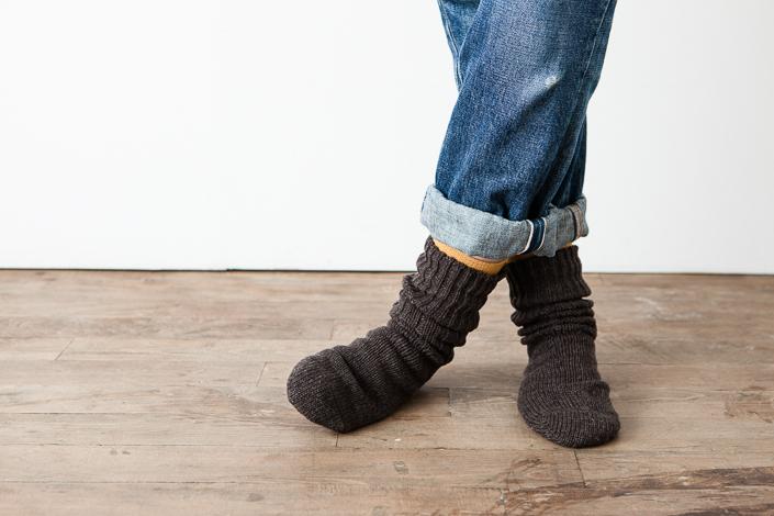 """""""くらすこと""""とうさぎの会の靴下 ウール100% あたたかいソックス ブラウン"""