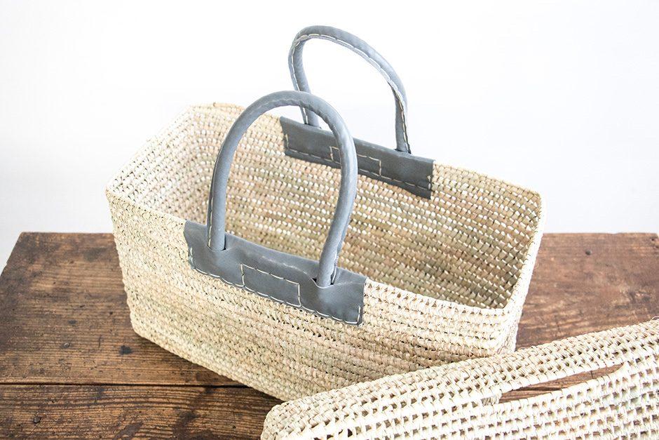 warang wayan 蓋つき革手バスケット グレー