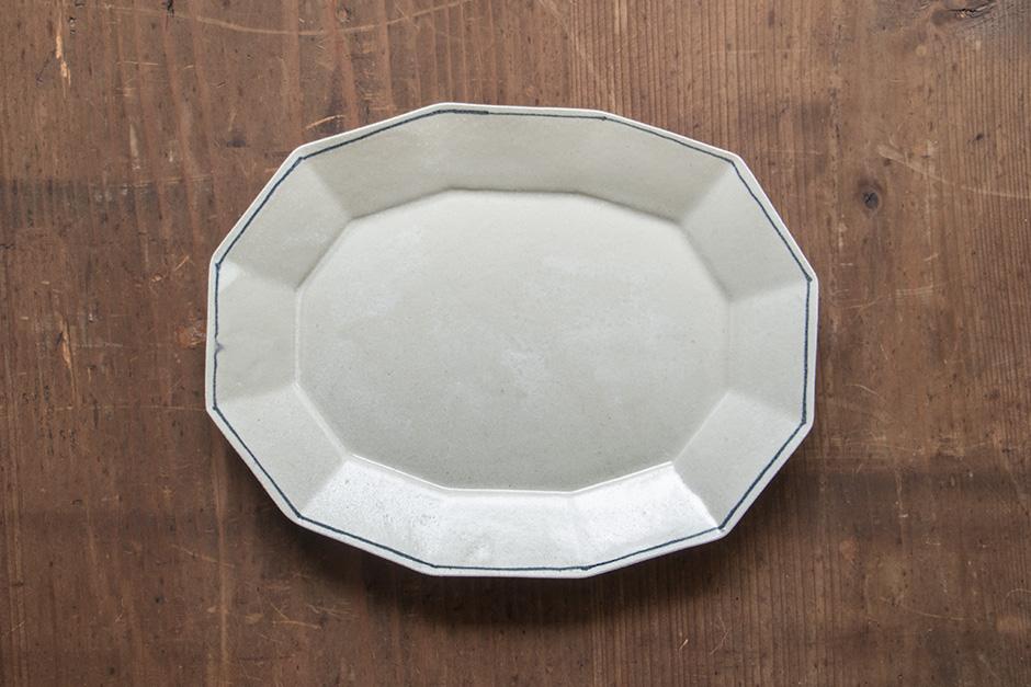 安齋新・厚子 錫釉楕円皿(大)