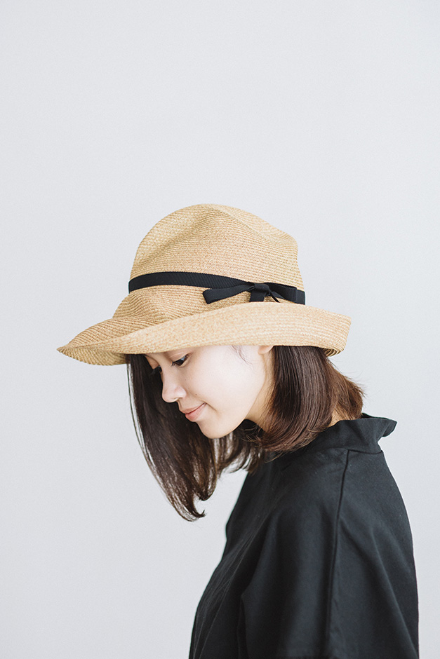 mature ha. BOXED HAT 11cm brim grosgrain ribbon ミックスブラウン×ブラック