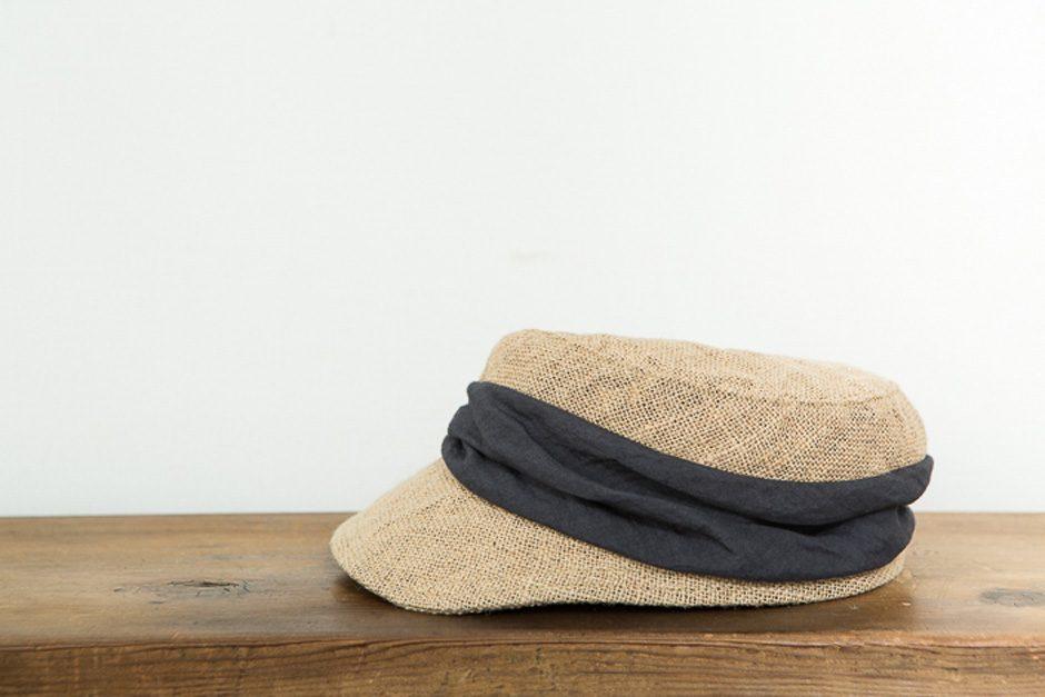 mature ha. jute drape cap