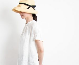 mature ha. BOXED HAT 11cm brim grosgrain ribbon ナチュラル×ブラック