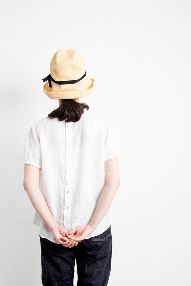 mature ha. BOXED HAT 11cm brim grosgrain ribbon ナチュラル×ブラック