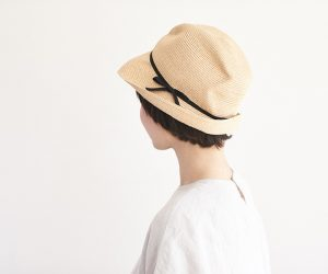 mature ha. BOXED HAT raffia 7cm brim ナチュラル×ブラック