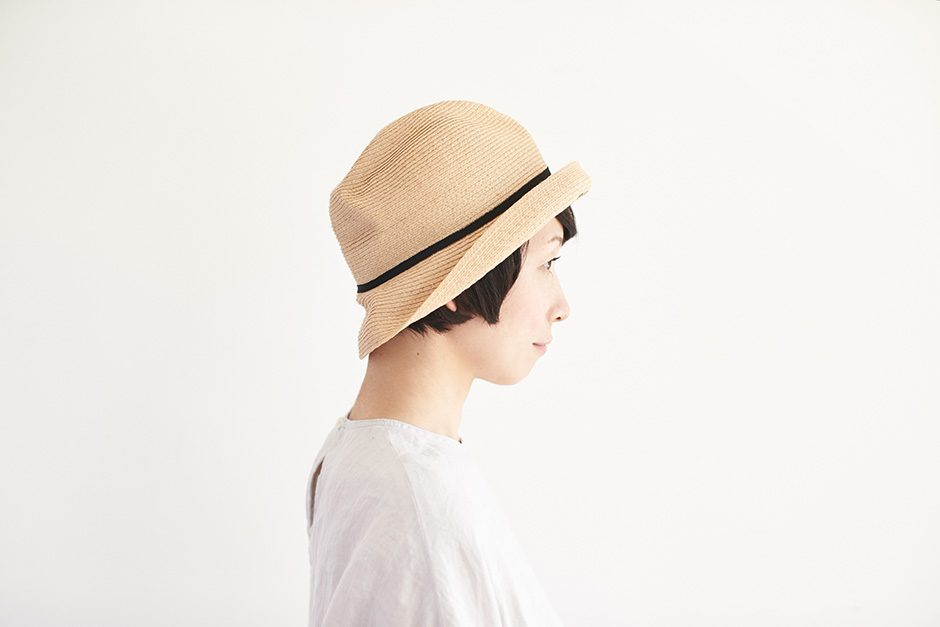 mature ha. BOXED HAT raffia 7cm brim ナチュラル×ブラック
