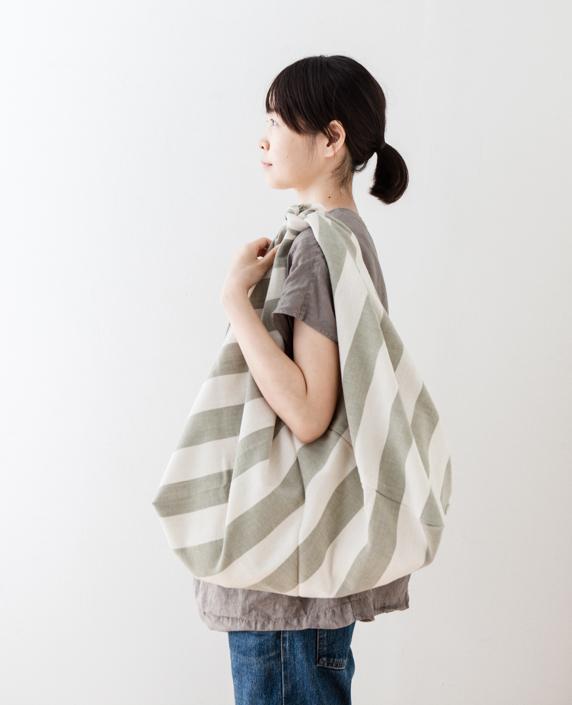 F/style 亀田縞の風呂敷(大)(太縞)生成+若草