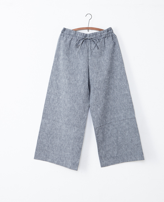 F/style 亀田縞のワイドパンツ(薄地)通常丈 生成紺