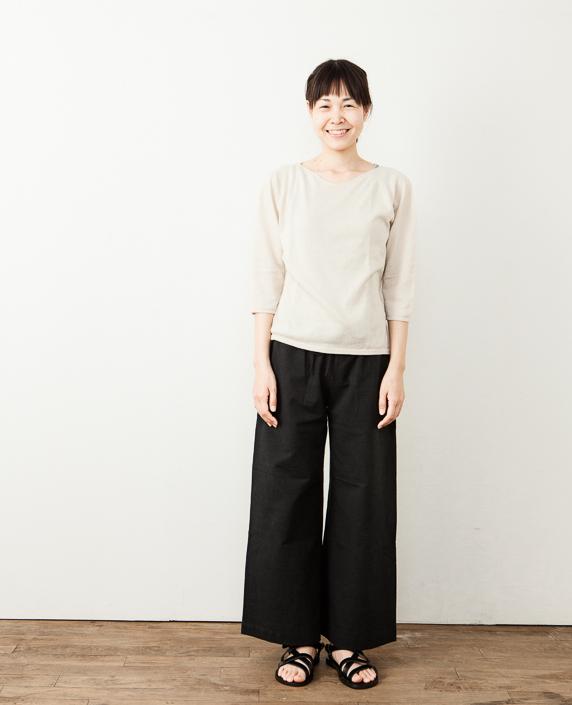 F/style 亀田縞のワイドパンツ(薄地)通常丈 黒鼠紺