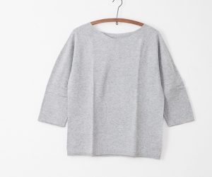 F/style 綿のニット編みカットソー 丸首(七分袖)中杢グレー