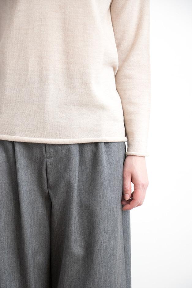 F/style ホールガーメントのウールニット 丸首(長袖)