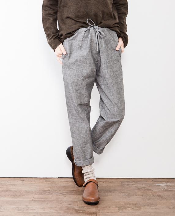 F/style 亀田縞の細身パンツ(薄地)3黒鼠