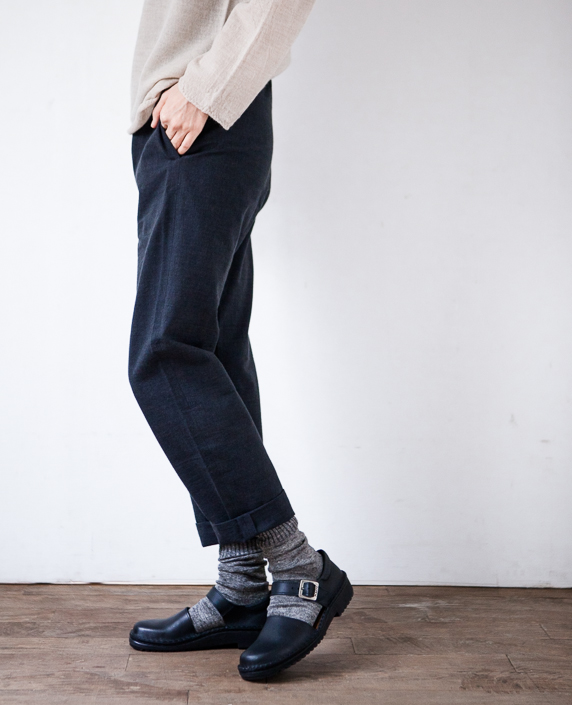 F/style 亀田縞の細身パンツ(薄地)4黒鼠紺