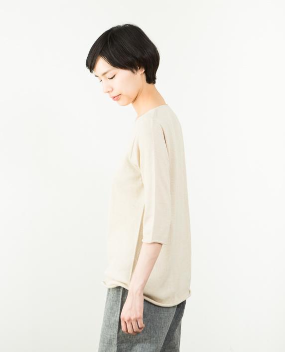 F/style 綿麻のニット編みカットソー Vネック(七分袖)1ベージュ