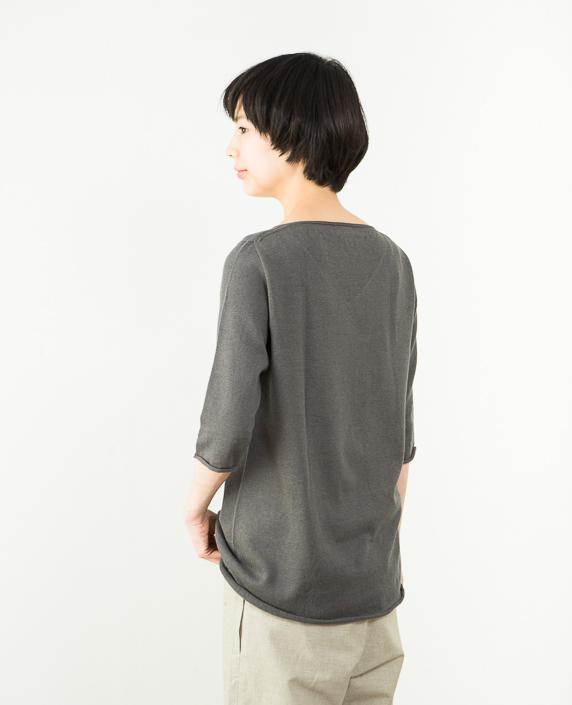 F/style 綿麻のニット編みカットソー Vネック(七分袖)2チャコールグレー