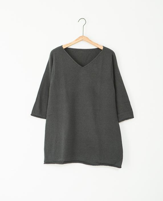 F/style 綿麻のニット編みカットソー Vネック(七分袖)3スミ