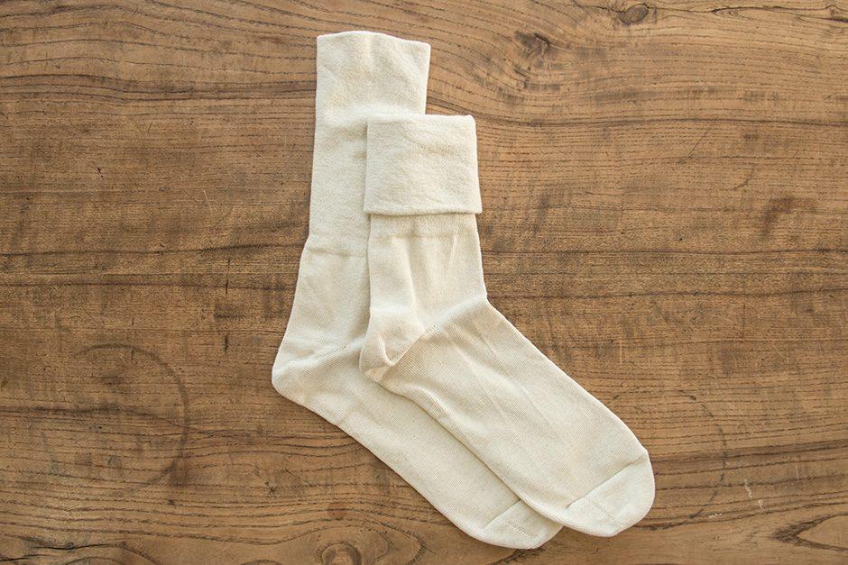 F/style ゴムが入っていない、ズレ落ちずしめつけない靴下 アイボリー