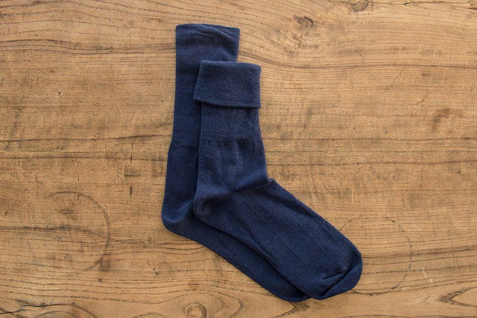 F/style ゴムが入っていない、ズレ落ちずしめつけない靴下 ブルー
