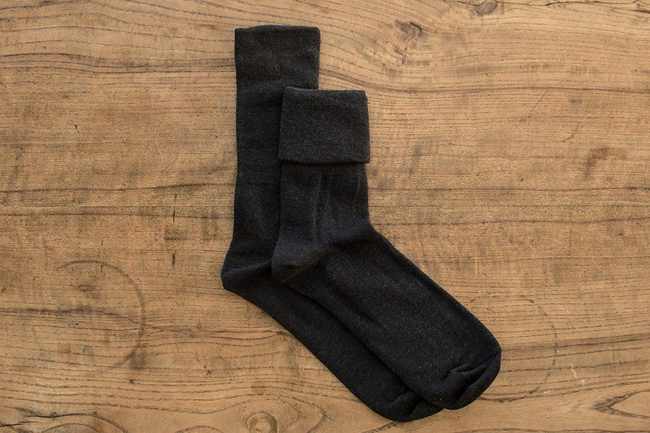F/style ゴムが入っていない、ズレ落ちずしめつけない靴下 ブラック
