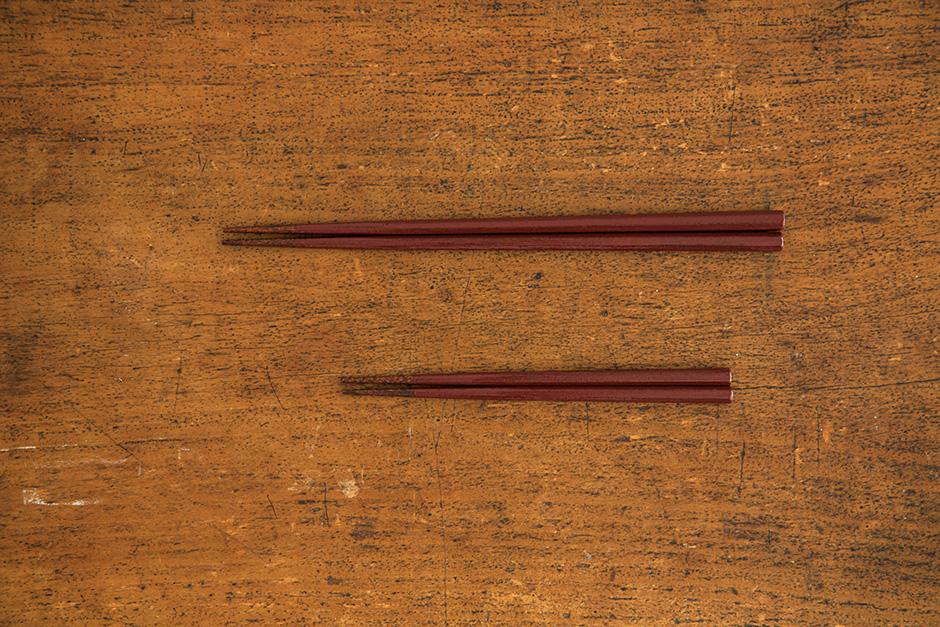 山岸厚夫 八角箸 箸先拭き漆 刷毛根来