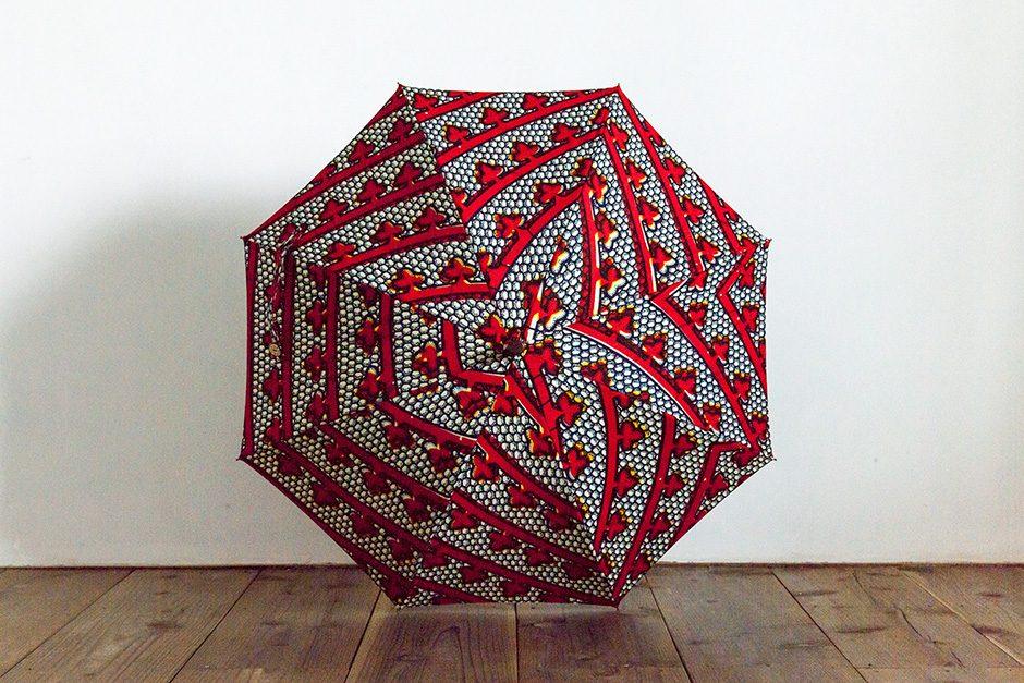 ボンボンストア アフリカンプリント 長傘 レッド