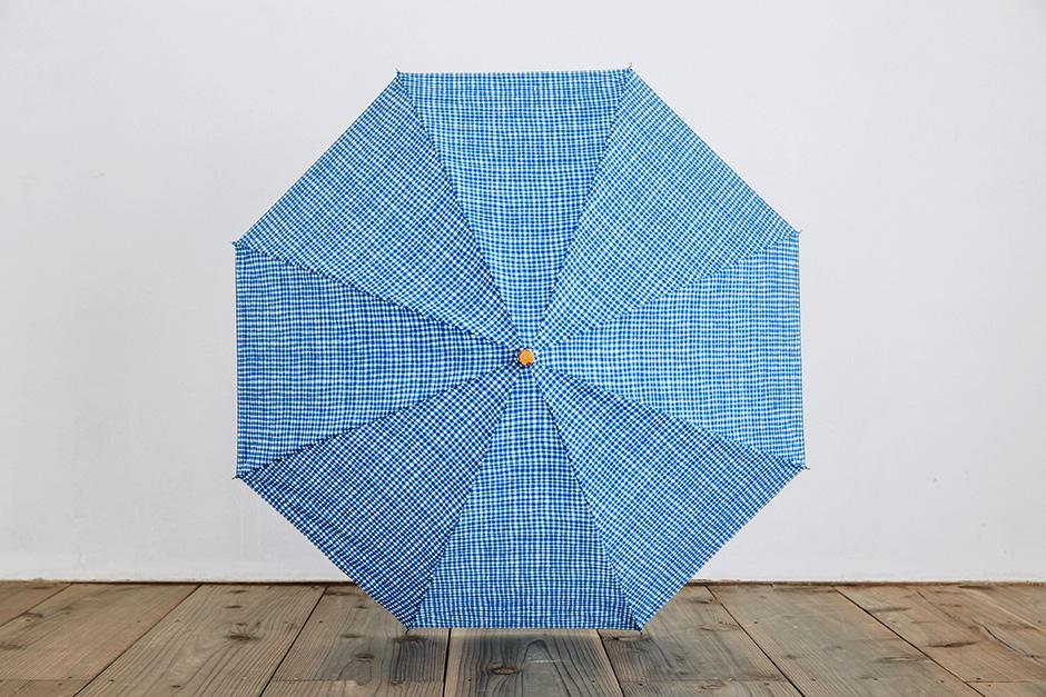 ボンボンストア ドローイングチェック 折りたたみ傘 ライトブルー