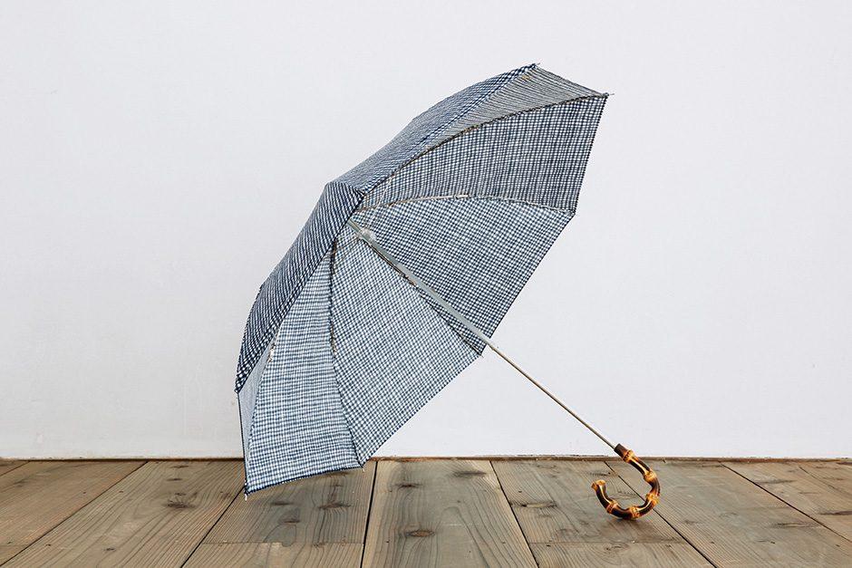 ボンボンストア ドローイングチェック 折りたたみ傘 ネイビー