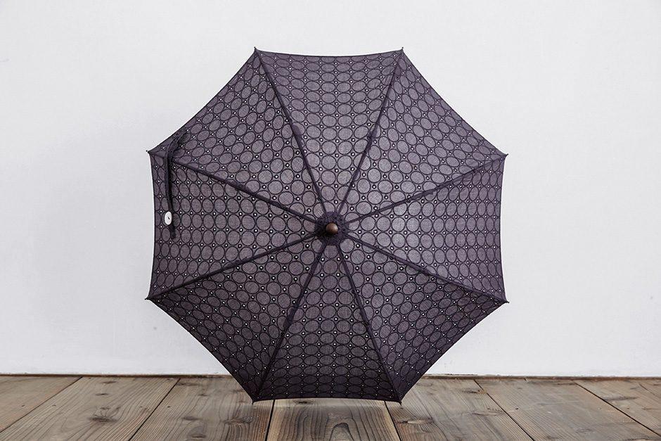 ボンボンストア ドット刺繍 長傘 ネイビー