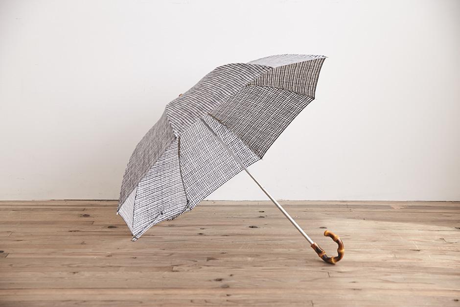 ボンボンストア ドローイングチェック 折りたたみ傘 ブラック