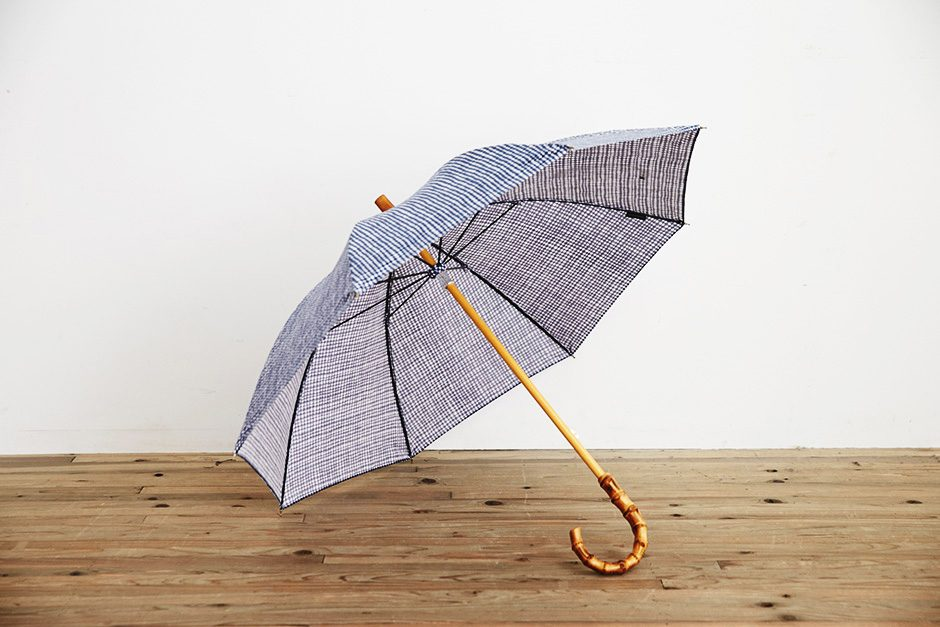 ボンボンストア ドローイングチェック 長傘 ネイビー