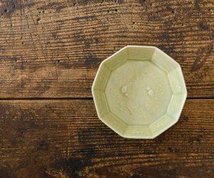 日高伸治 緑釉 十角鉢 小