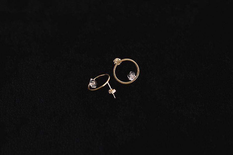 accessories mau k10+ハーキマーダイヤ サークルピアス