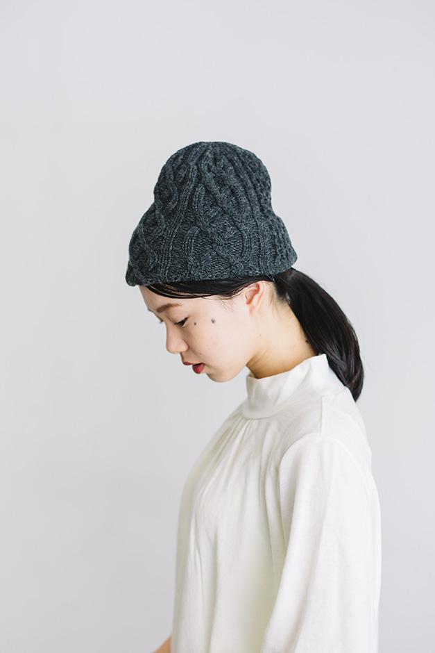mature ha. slant cutting knit cap aran2 lamb