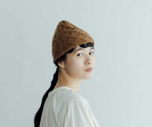 mature ha. slant cutting knit cap aran2 lamb