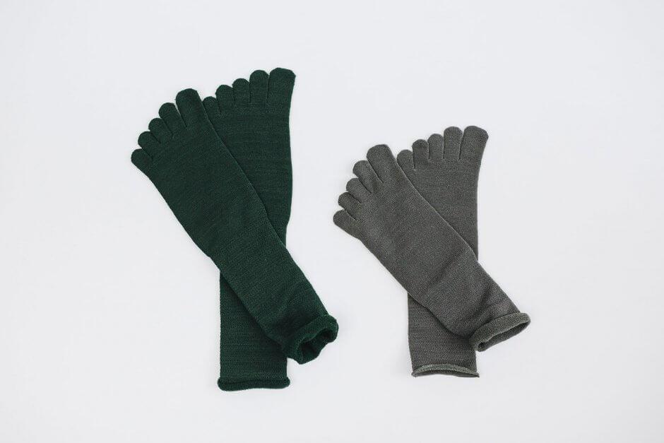 Glück und Gute 五本指「足の肌着」絹とウール ロング丈