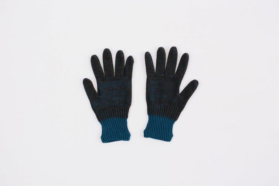 Glück und Gute オーガニックコットンとウールの手袋 For Men ブルーブラウン