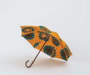 Bon Bon Store アフリカンバティック 長傘 オレンジ×ブルー