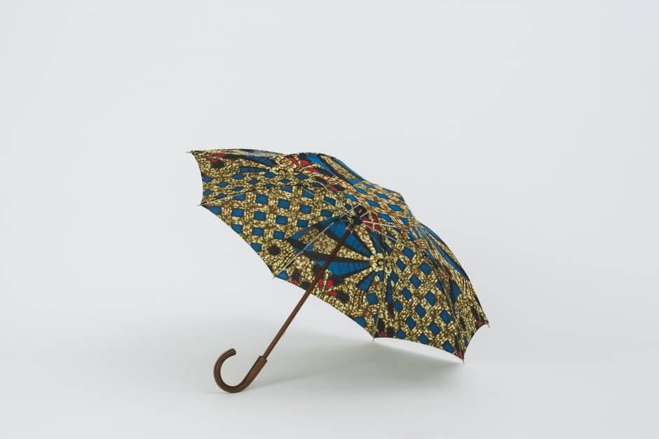 Bon Bon Store アフリカンバティック 長傘 ブラウン×ブルー