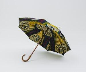 Bon Bon Store アフリカンバティック 長傘 ネイビー×イエロー