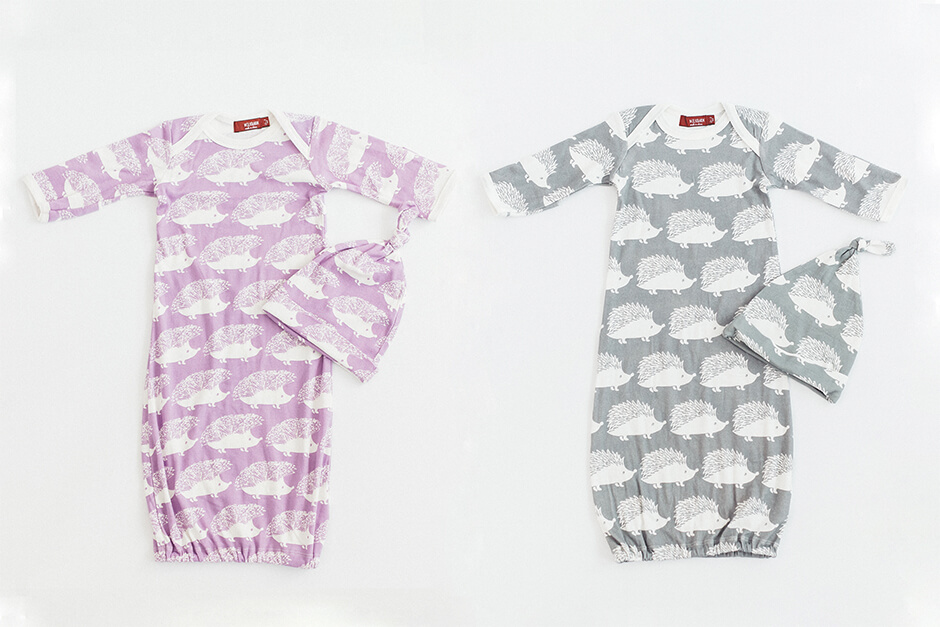 Milkbarn 新生児スリーピングブラウス&ハットセット ハリネズミ(0-3ヶ月)