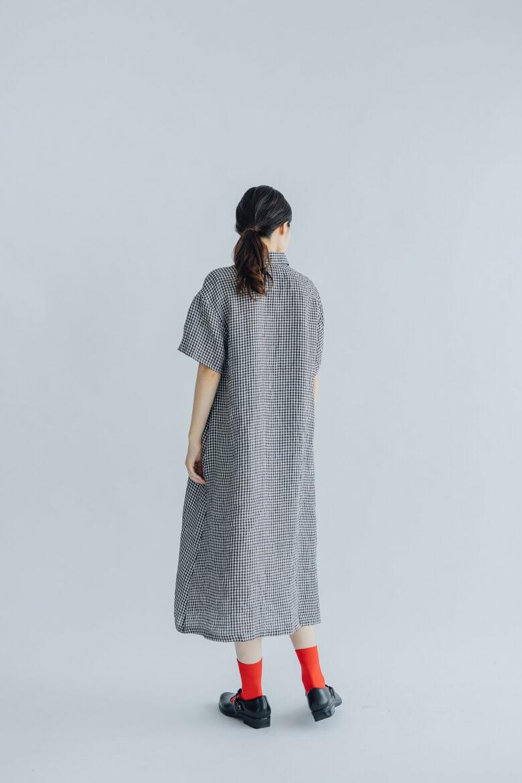 fog linen work リスベット シャツワンピース ブラックホワイトチェック