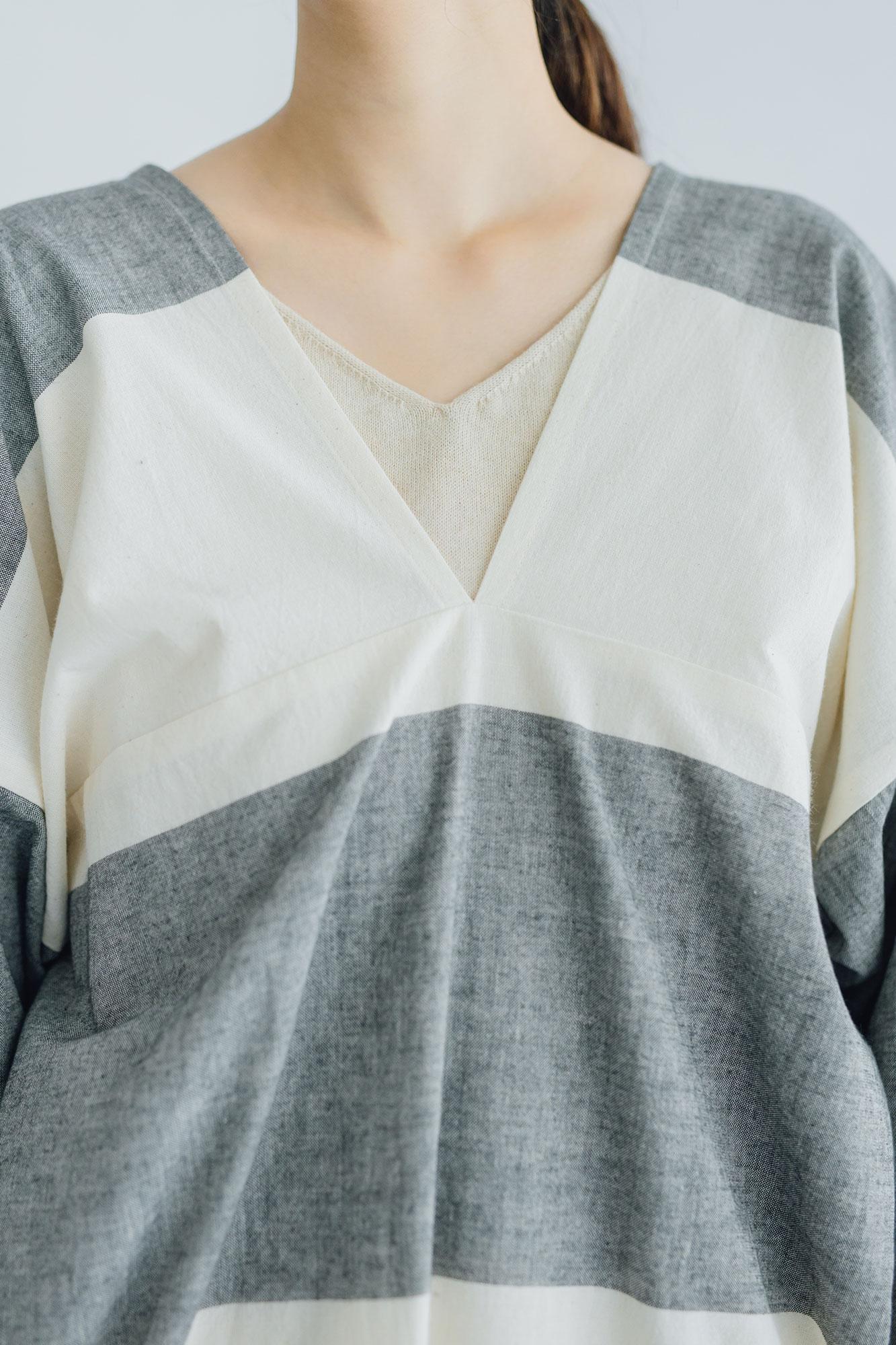 F/style 亀田縞のかっぽう着 (丈長め)