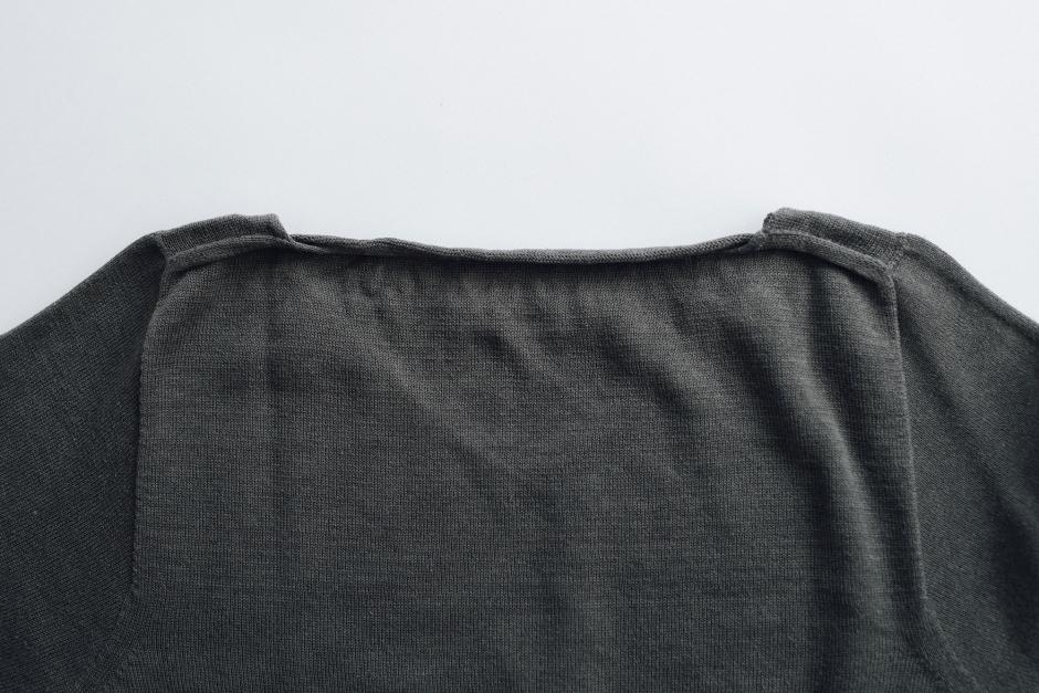 F/style 綿麻のニット編みカットソー Vネック(七分袖)