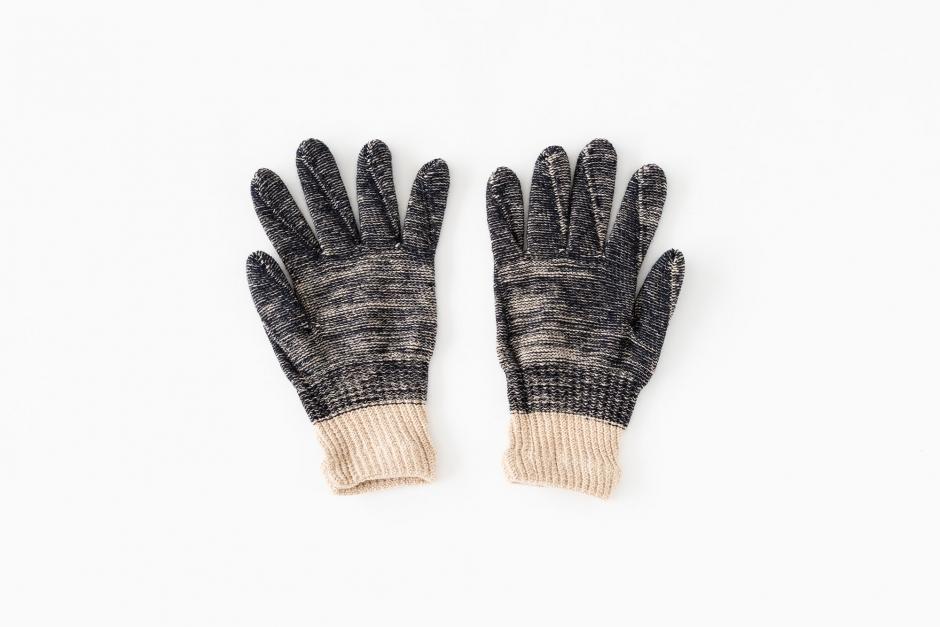 Gluck und Gute オーガニックコットンとウールの手袋 for men ネイビーベージュ